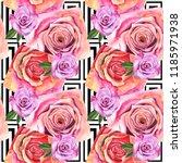 wildflower rose flower pattern... | Shutterstock . vector #1185971938