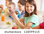 group of classmates having... | Shutterstock . vector #118599115