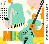 music colorful background with... | Shutterstock .eps vector #1185991345