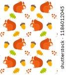 vector pattern with cartoon... | Shutterstock .eps vector #1186012045