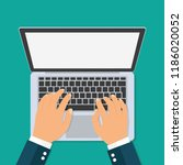 hands typing text on the laptop ... | Shutterstock .eps vector #1186020052