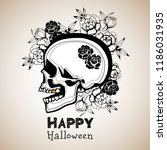 pattern with image a skull and... | Shutterstock .eps vector #1186031935