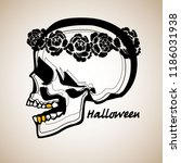 pattern with image a skull and... | Shutterstock .eps vector #1186031938