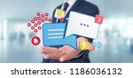 view of a businessman holding... | Shutterstock . vector #1186036132