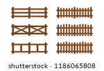 Set Of Different Rural Wooden...