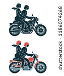 motorcyclist with a passenger... | Shutterstock .eps vector #1186074268