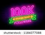 100k  100000 followers neon... | Shutterstock .eps vector #1186077088