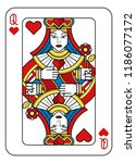 a playing card queen of hearts... | Shutterstock .eps vector #1186077172