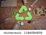 garbage and recycle symbol on...   Shutterstock . vector #1186084858