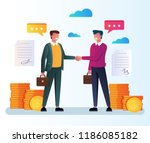 two businessman office workers... | Shutterstock .eps vector #1186085182