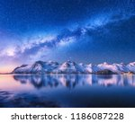 bright milky way over snow... | Shutterstock . vector #1186087228