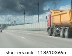 a lorry with tipping trailer in ... | Shutterstock . vector #1186103665