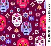 mexican seamless pattern sugar... | Shutterstock .eps vector #1186107388