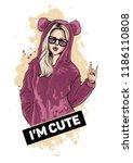 beautiful young girl in cute... | Shutterstock .eps vector #1186110808