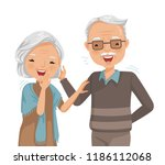 couple elderly laughing... | Shutterstock .eps vector #1186112068
