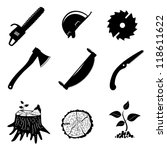 set of icons. woodworking... | Shutterstock .eps vector #118611622