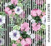 watercolor colorful bouquet...   Shutterstock . vector #1186118788