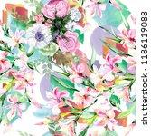 watercolor colorful bouquet... | Shutterstock . vector #1186119088