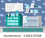 boy's baby room interior... | Shutterstock .eps vector #1186119268