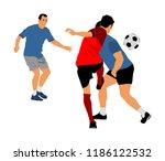 soccer players in duel vector... | Shutterstock .eps vector #1186122532