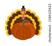 funny peligrimm with a pumpkin... | Shutterstock .eps vector #1186125622