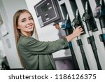 portrait of cheerful girl... | Shutterstock . vector #1186126375