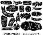 hand drawn set of speech... | Shutterstock .eps vector #1186129975