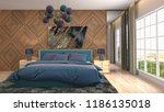 bedroom interior. 3d... | Shutterstock . vector #1186135018