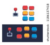 colorful buttons and joysticks... | Shutterstock .eps vector #1186137418