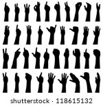 Vector File Of Hand Silhouettes