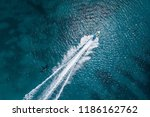 Scenic above view of speedboat