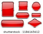 red glass buttons with chrome... | Shutterstock . vector #1186165612