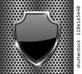 metal 3d black shield on metal... | Shutterstock . vector #1186165648