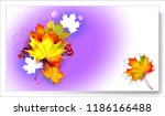 autumn background with leaves.... | Shutterstock .eps vector #1186166488
