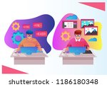 two workers man programmer and... | Shutterstock .eps vector #1186180348