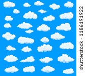 clouds set isolated on blue... | Shutterstock .eps vector #1186191922
