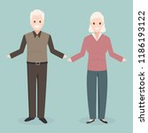 elderly man and woman icon ... | Shutterstock .eps vector #1186193122