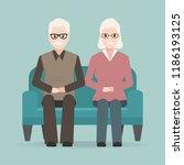 elderly man and woman sitting...   Shutterstock .eps vector #1186193125
