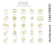 collection of school thin line... | Shutterstock .eps vector #1186198852