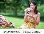 pretty young asian girl with... | Shutterstock . vector #1186198882