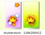 autumn background with leaves.... | Shutterstock .eps vector #1186200412