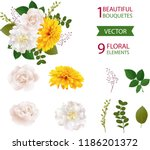 elegant white peonies and roses ... | Shutterstock .eps vector #1186201372