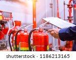 engineer checking industrial... | Shutterstock . vector #1186213165