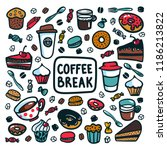 coffee break concept. time for... | Shutterstock .eps vector #1186213822