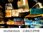 colorful reclaimed barn wood | Shutterstock . vector #1186213948