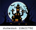 halloween night blue sky and... | Shutterstock .eps vector #1186217782