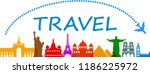 travel  wonders of the world ... | Shutterstock .eps vector #1186225972