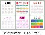 calendar 2019. colorful set....   Shutterstock .eps vector #1186229542