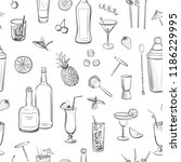seamless pattern of cocktails ... | Shutterstock .eps vector #1186229995