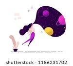 girl woman wearing virtual... | Shutterstock .eps vector #1186231702